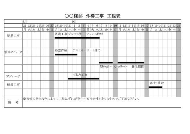 工事工程表例